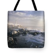 Fog And Rocky Shoreline In Winter With Tote Bag