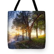 Fog At The Farm Tote Bag