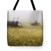 Fog Covered Field Tote Bag