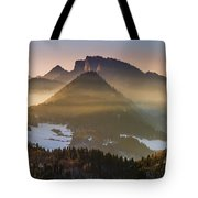 Fog Covered Mountains At Sunset Tote Bag