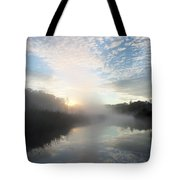 Fog Covered River Tote Bag