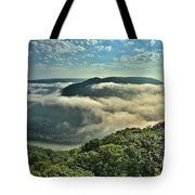Fog In The Grand View Valley Tote Bag