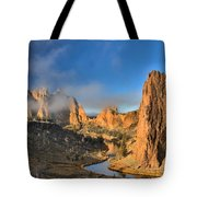Fog Over Smith Rock Tote Bag
