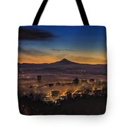 Fog Rolling In At Dawn Over The City Of Portland Tote Bag