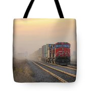 Fog Train In Winnipeg Manitoba Tote Bag