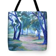 Fog Under The Oaks Tote Bag