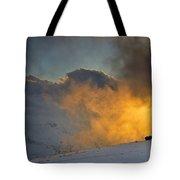 Foggy At Sunset 3000 Meters Tote Bag