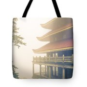 Foggy At The Reading Pagoda Tote Bag