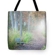 Foggy Autumn Morning Tote Bag