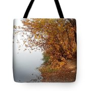 Foggy Autumn Riverbank Tote Bag