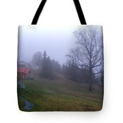 Foggy Cabin And Hillside Tote Bag