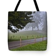 Foggy Country Lane Tote Bag