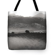 Foggy Countryside Tote Bag