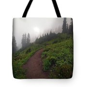 Foggy Crest Trail Tote Bag by Mike  Dawson