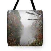 Foggy Fall River Tote Bag