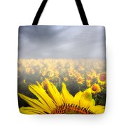 Foggy Field Of Sunflowers Tote Bag