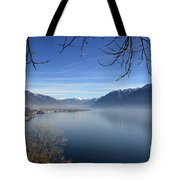 Foggy Lake Tote Bag