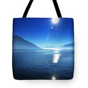 Foggy Lake With Sun Tote Bag