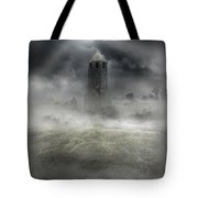 Foggy Landscape With Dark Tower Tote Bag