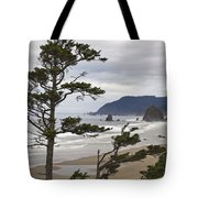 Foggy Morning At Tolovana Beach Oregon 2 Tote Bag