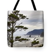 Foggy Morning At Tolovana Beach Oregon Tote Bag