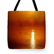 Foggy Morning On The River Tote Bag