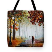 Foggy Morning - Palette Knife Contemporary Landscape Oil Painting On Canvas By Leonid Afremov - Size Tote Bag