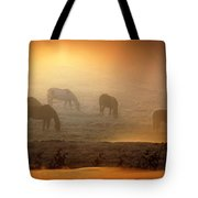 Foggy Morning Pasture Time Tote Bag