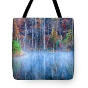 Foggy Morning Reflections Tote Bag