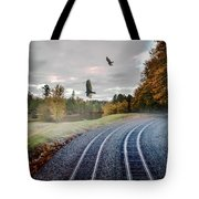 Foggy Nature Along The Train Tracks Tote Bag