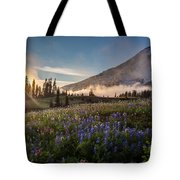 Foggy Rainier Sunset Tote Bag
