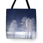 Foggy Sunrise In Yellowstone National Park Tote Bag