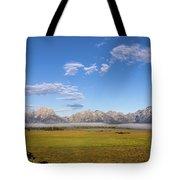 Foggy Sunrise On The Tetons - Grand Teton National Park Wyoming Tote Bag