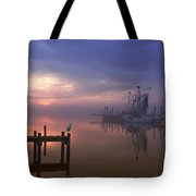 Foggy Sunset Over Swansboro Tote Bag by Benanne Stiens
