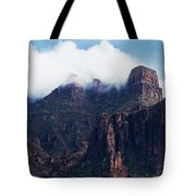 Foggy Superstition Mountains   Tote Bag