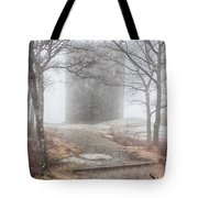 Foggy View Of The Summit Of Mount Battie Tote Bag