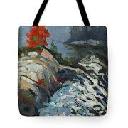 Foggy Whitefish Rapids Tote Bag
