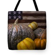 Folk Art Flag And Pumpkins Tote Bag