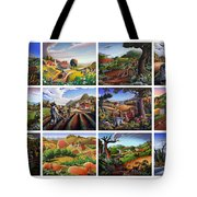 Folk Art Seasonal Seasons Sampler Greetings Rural Country Farm Collection Farms Landscape Scene Tote Bag