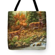 Whitetail Deer - Follow Me Tote Bag by Crista Forest