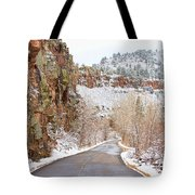 Follow The Red Rock Ridge Winter Road  Tote Bag