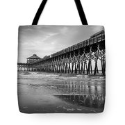 Folly Beach Pier In Black And White Tote Bag