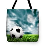 Football Soccer A Leather Ball On Grass Tote Bag