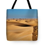 Footprints And 4x4 Offroad Car In Landscape Of Endless Dunes In Sand Desert  Tote Bag