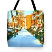 Footprints In The Snow Montreal Winter Street Scene Paintings Verdun Christmas  Memories  Tote Bag