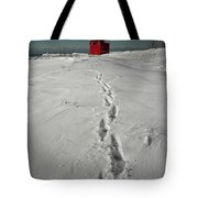 Footprints Leading From The Lighthouse Big Red During Winter Tote Bag
