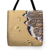 Footprints On Beach Tote Bag