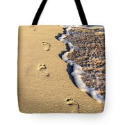 Footprints On Beach Tote Bag