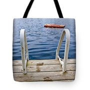 Footprints On Dock At Summer Lake Tote Bag