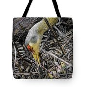 foraging for wild edibles Sandhill Crane Tote Bag